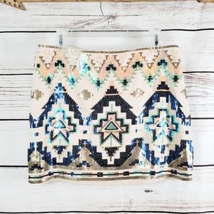 Express | Iridescent Sequin Aztec Print Mini Skirt